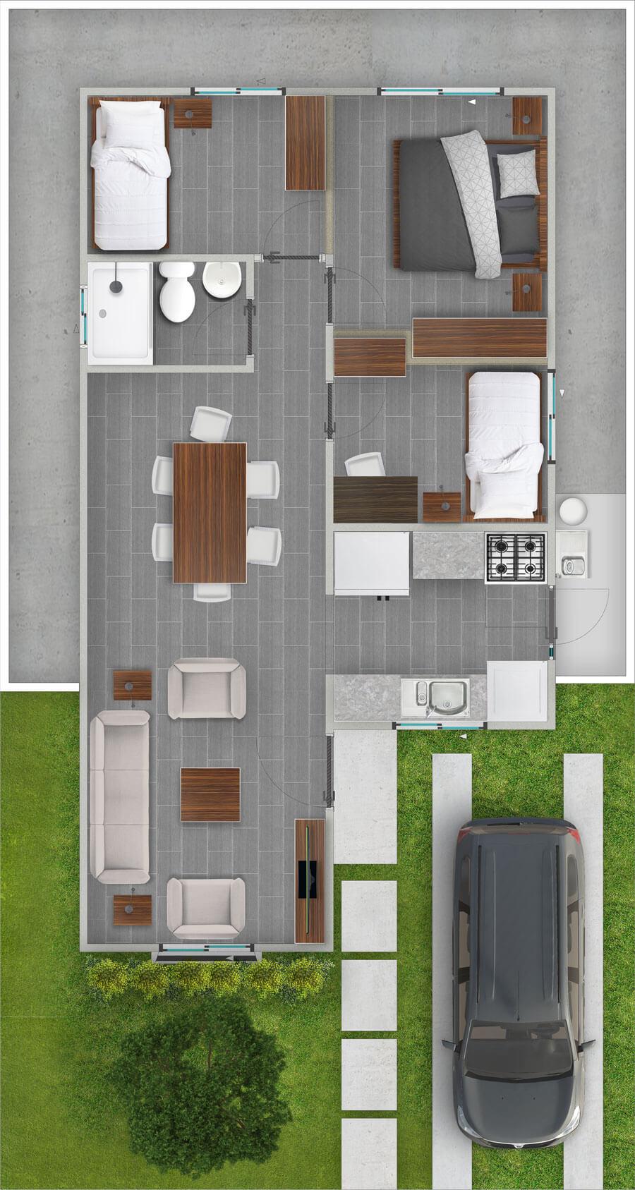 galilea-inmobiliaria-constructora-ecuador-render-interior-casa-modelo-azalea-58-m2-tipo-1