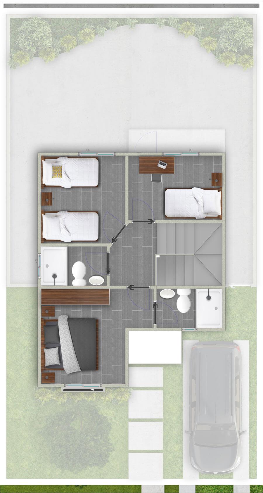 galilea-inmobiliaria-constructora-ecuador-render-interior-casa-modelo-bungavilla-80-m2-planta-alta