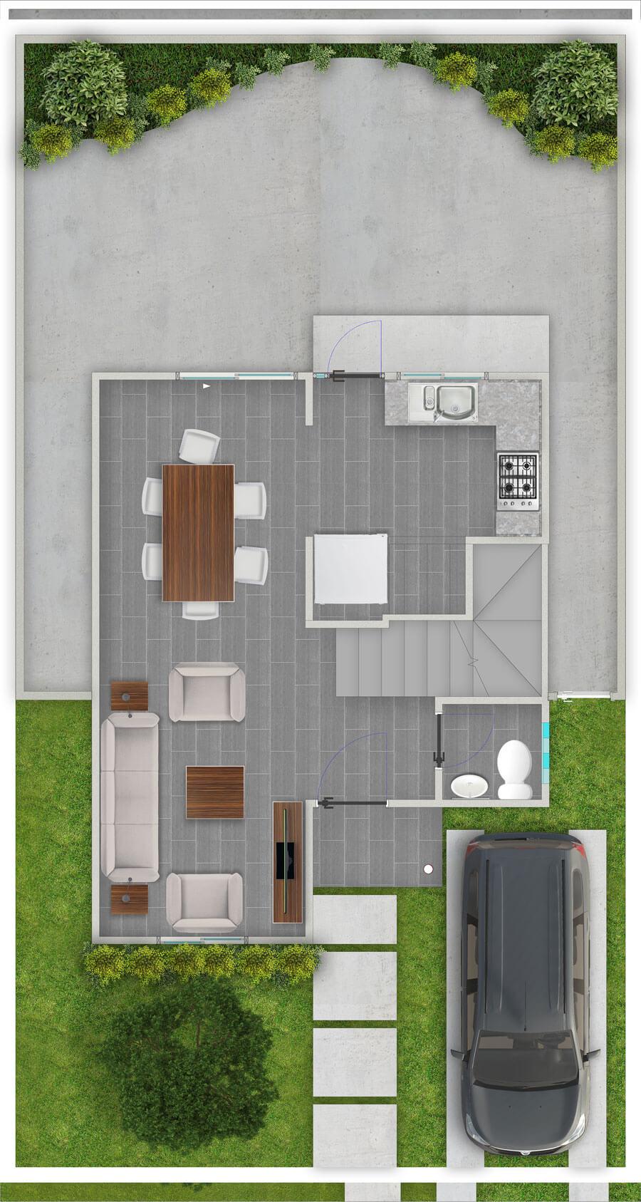 galilea-inmobiliaria-constructora-ecuador-render-interior-casa-modelo-bungavilla-80-m2-planta-baja